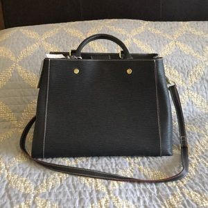Arcadia Black Leather Satchel